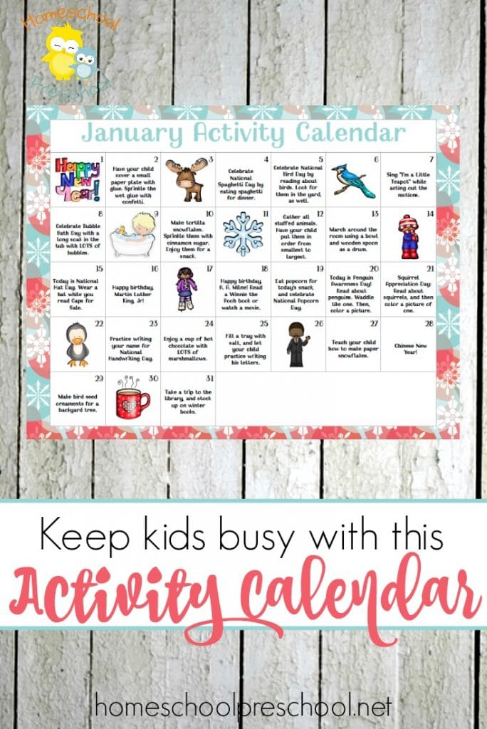 Kindergarten Calendar Games : Free january preschool activity calendar homeschool