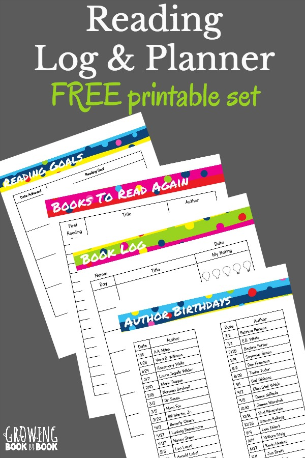 free reading log  u0026 planner printables