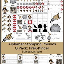Free Alphabet Stomping Phonics Q PreK-K and Tot Pack