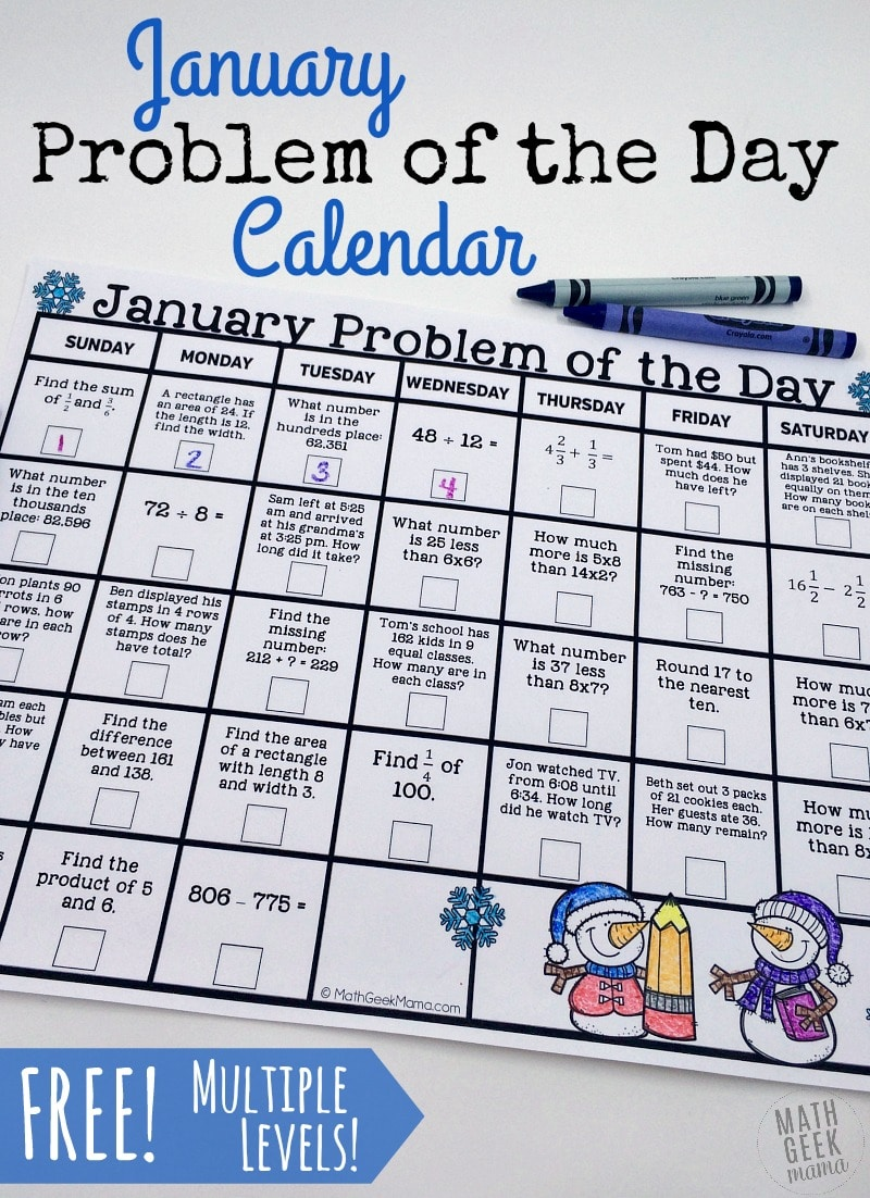 Free January Problem of the Day Calendar