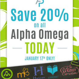 20% Off Alpha Omega Homeschool Curriculum – Today Only!