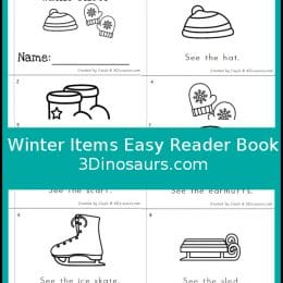 Free Winter Items Easy Reader Book