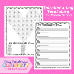 FREE VALENTINE'S DAY VOCABULARY FOR MIDDLE SCHOOL PRINTABLES (Instant Download)
