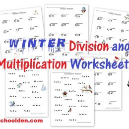 Free Winter Division and Multiplication Worksheets