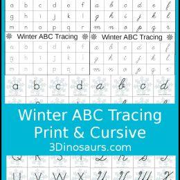 Free Winter ABC Tracing Worksheets (Print & Cursive)