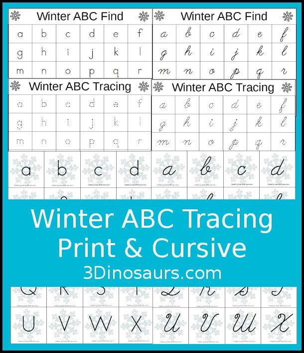 Free Winter ABC Tracing Worksheets (Print & Cursive) | Free ...