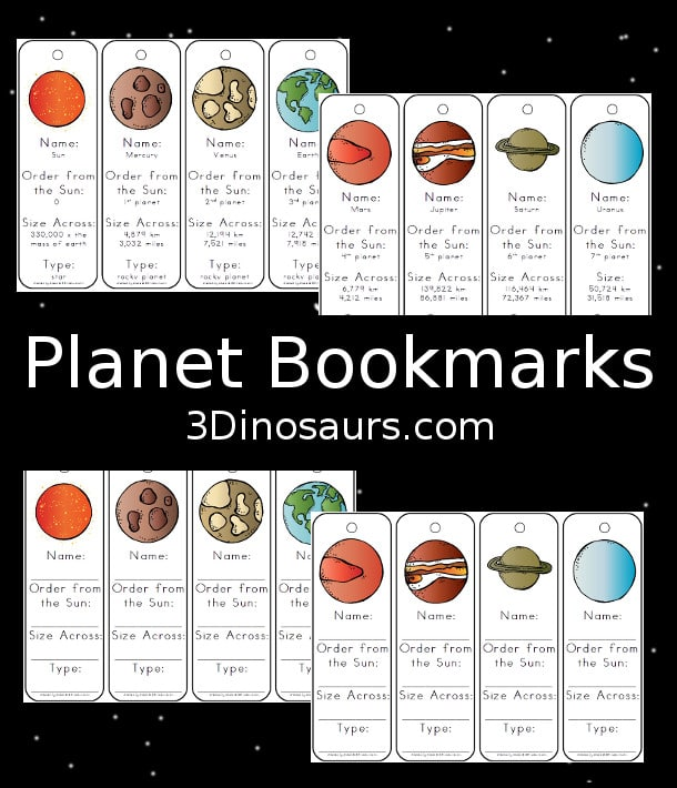 Free Planet Facts Bookmarks