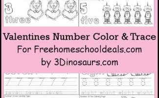 FREE VALENTINES NUMBER COLOR & TRACING PRINTABLES (Instant Download)