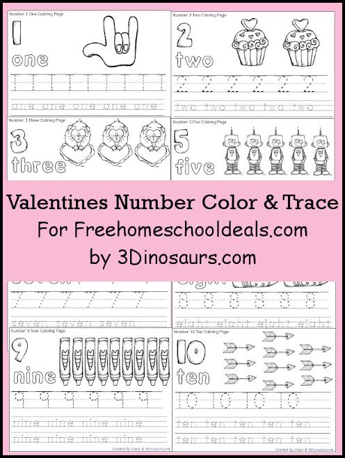 Valentine Easy Worksheets : Free valentines number color tracing printables instant