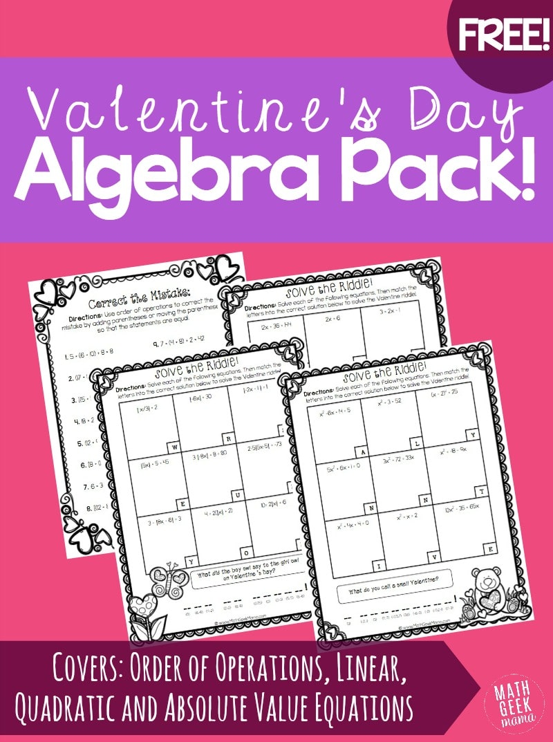 Free Valentines Day Algebra Riddles Pack  Free Homeschool Deals