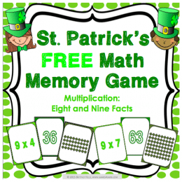 Free St. Patrick's Day Math Memory Game