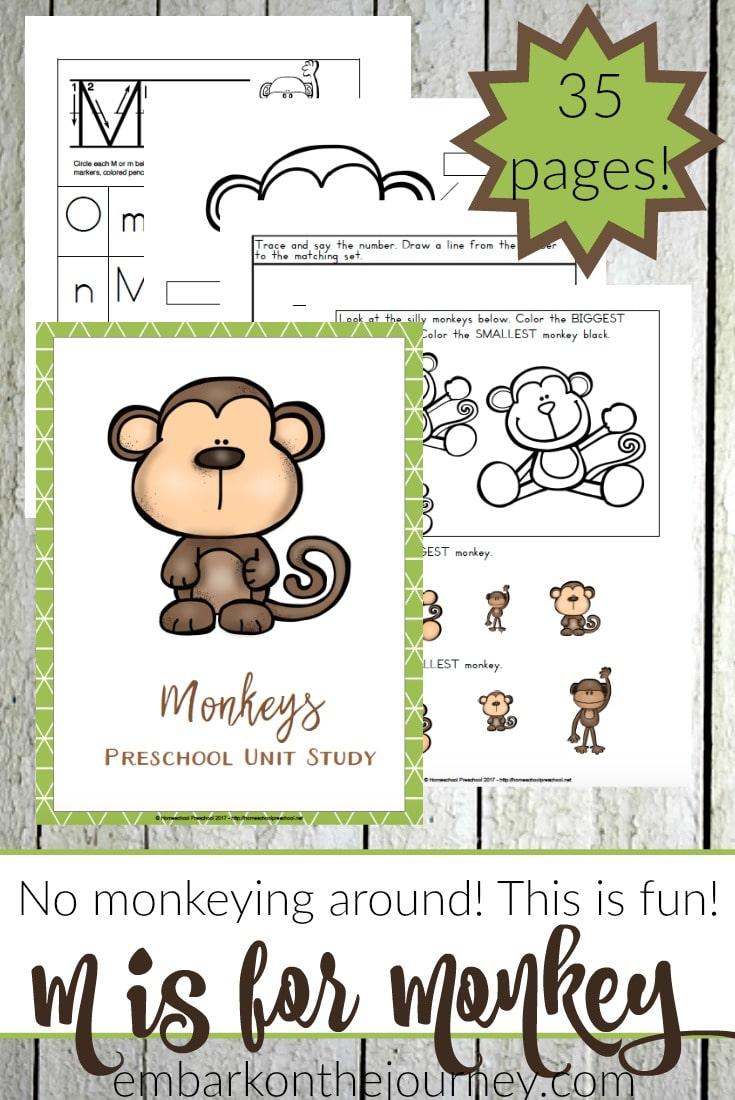 Free Monkey Preschool Unit Study 35 Pages Free