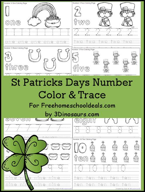 FREE ST. PATRICK'S DAY NUMBER COLOR & TRACE PACK (Instant Download ...