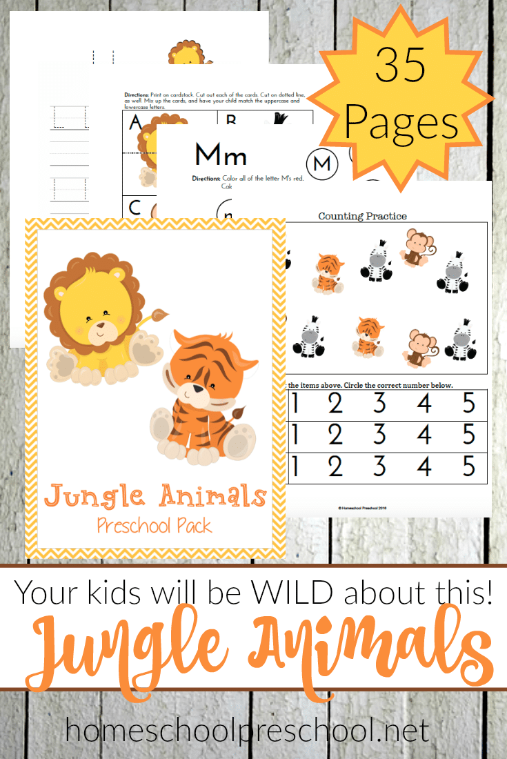 free jungle animals preschool learning pack 35 pages free homeschool deals. Black Bedroom Furniture Sets. Home Design Ideas