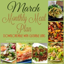 Free March Monthly Meal Plan