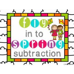 Free Spring Subtraction Task Cards