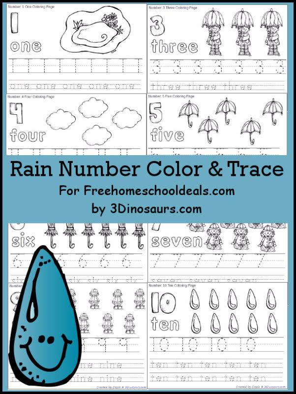 FREE RAIN THEMED NUMBER COLOR & TRACE PRINTABLES (Instant Download)
