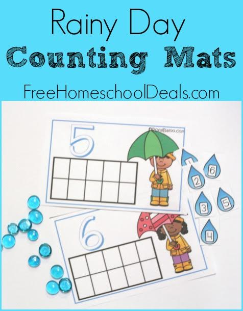 FREE RAINY DAY COUNTING MATS (Instant Download)