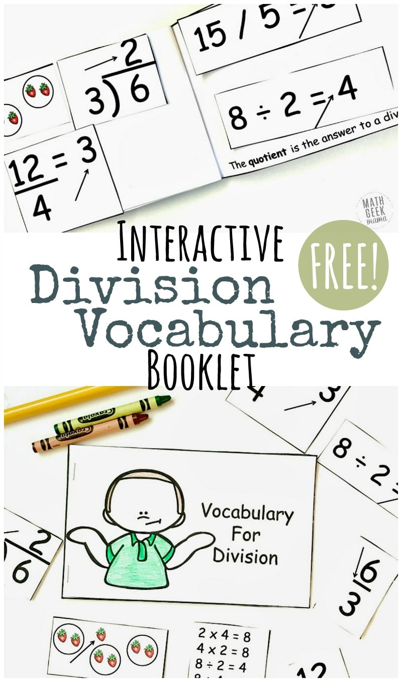 Free Division Vocabulary Booklet