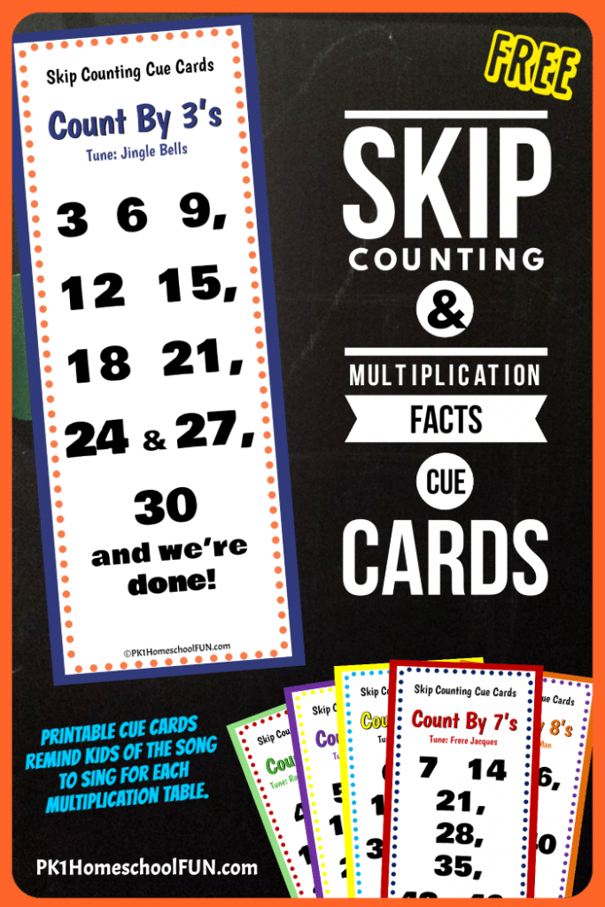 free math cue cards for skip counting multiplication free homeschool deals. Black Bedroom Furniture Sets. Home Design Ideas