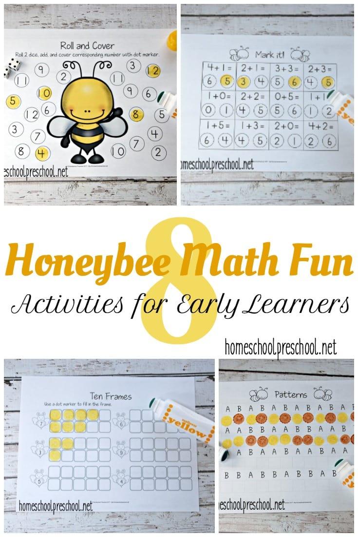 Free Honeybee Math Worksheets for PreK & K