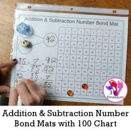 Free Addition & Subtraction Number Bond Mats with 100 Chart