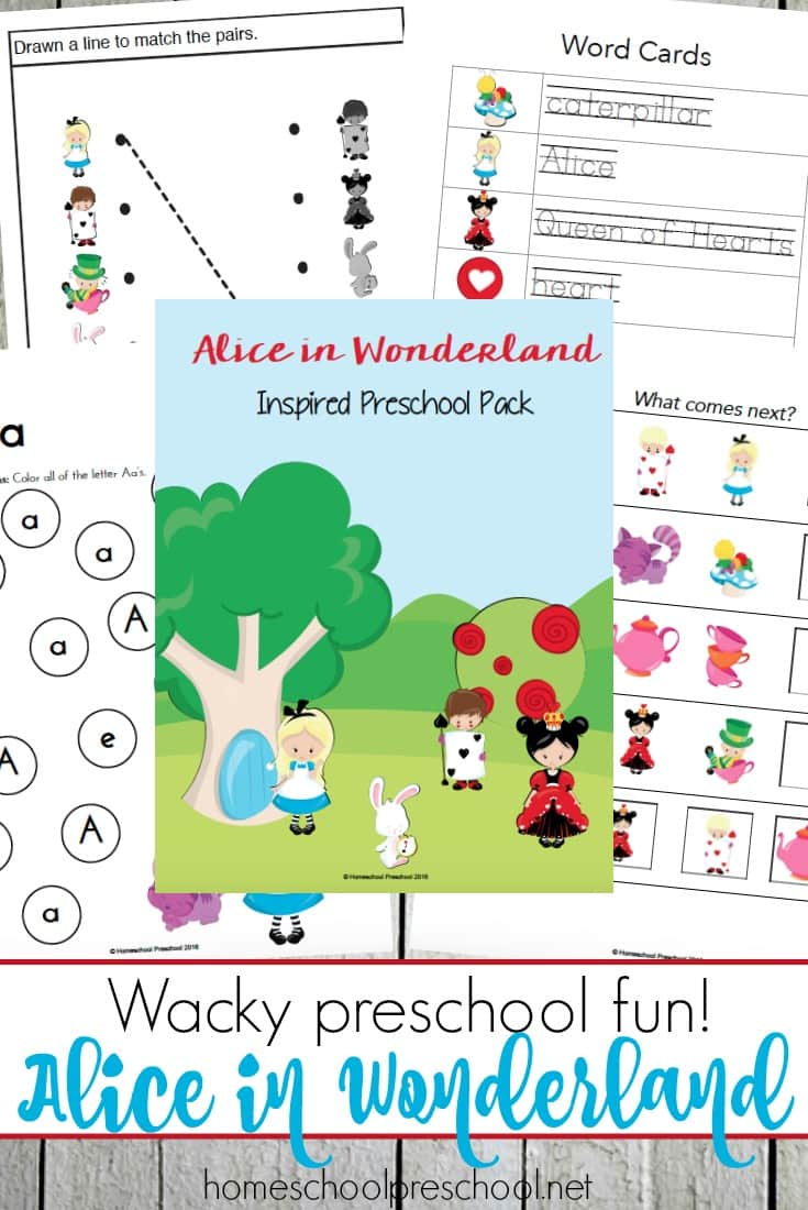 Free Alice in Wonderland Preschool Pack