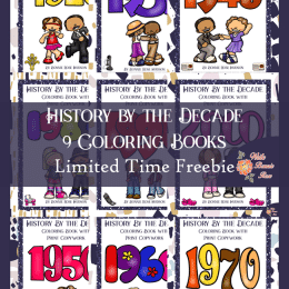 9 Free History by the Decades Coloring Books