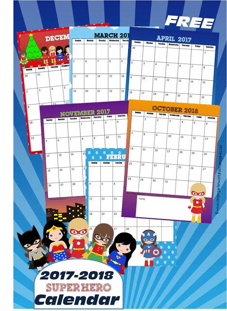 Free 2017 2018 Girl Superheroes Printable Calendar | Free