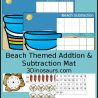 Free Beach Themed Addition & Subtraction Mats
