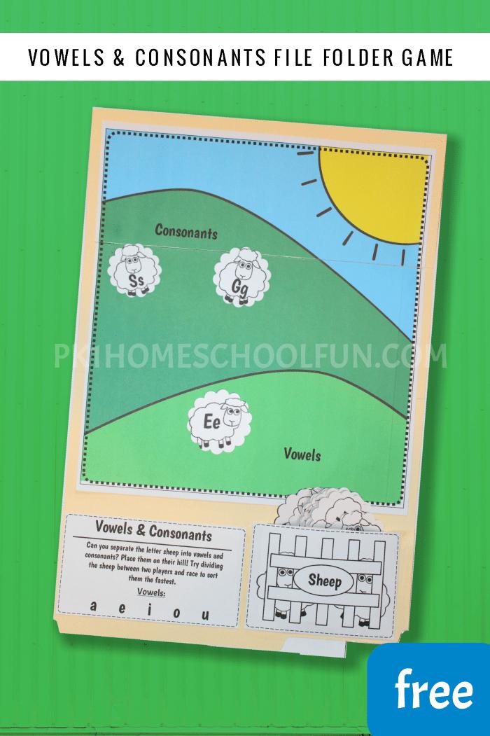 Free Vowels & Consonants File Folder Game
