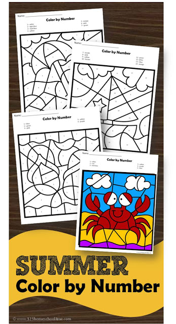 Free Summer Color by Number Printables Free Homeschool