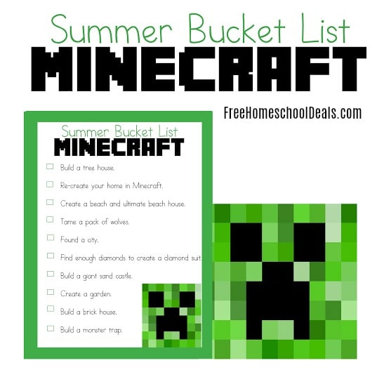 FREE SUMMER BUCKET LIST FOR MINECRAFT (Instant Download