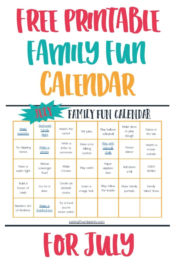 Free July Family Fun Calendar