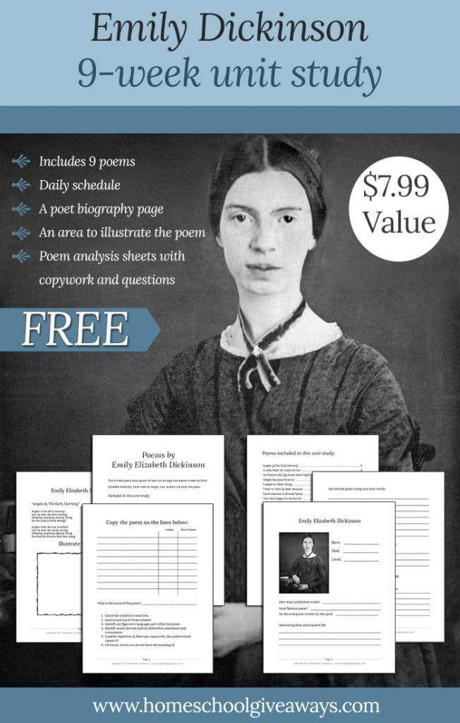 free emily dickinson 9 week unit study value free homeschool deals. Black Bedroom Furniture Sets. Home Design Ideas