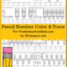 FREE PENCIL NUMBER COLOR & TRACE PRINTABLES (Instant Download)