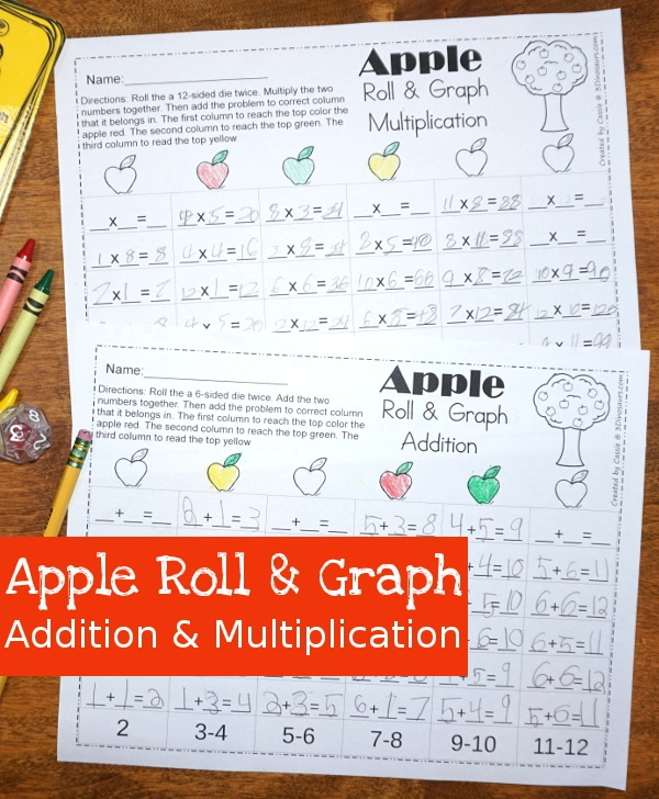 Free Apple Addition & Multiplication Roll & Graph Worksheets
