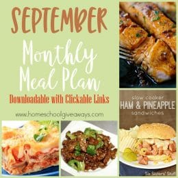 Free September Monthly Meal Plan
