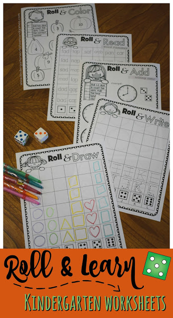 Free Fall Roll & Learn Kindergarten Worksheets