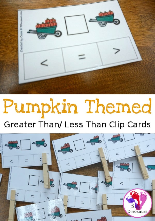 Free Pumpkin Themed Greater Than Less Than Clip Cards