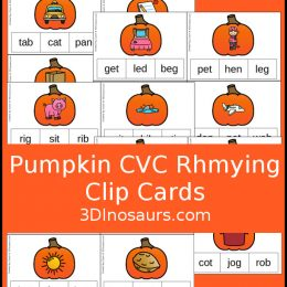 Free Pumpkin Rhyming Words Clip Cards