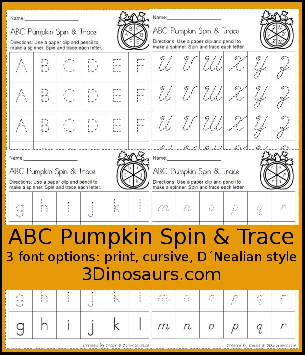 Free Pumpkin ABC Spin & Trace Worksheets (3 Font Options)