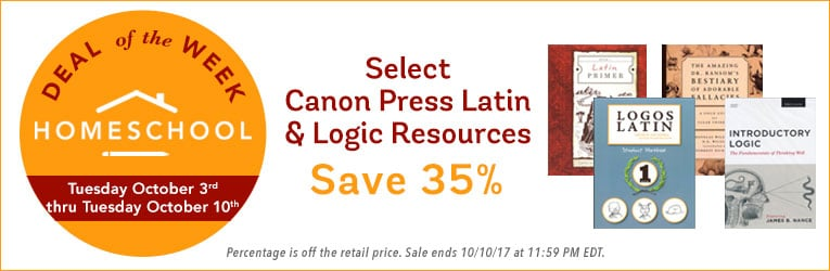 35% Off Canon Press Latin & Logic Resources