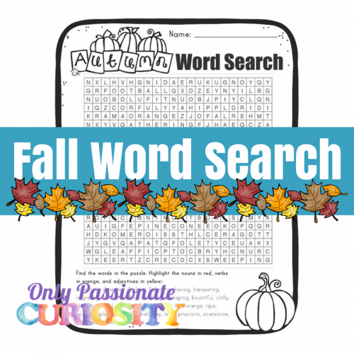 Free Fall Parts-of-Speech Word Search