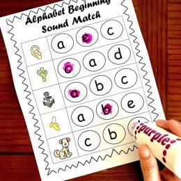 Free Alphabet Beginning Sounds Worksheets