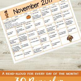 Free November Read-Aloud Calendar