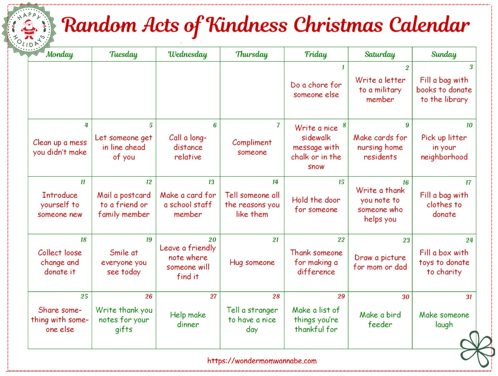 Free Random Acts of Kindness Christmas Calendar