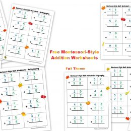 Free Fall Montessori Addition Worksheets