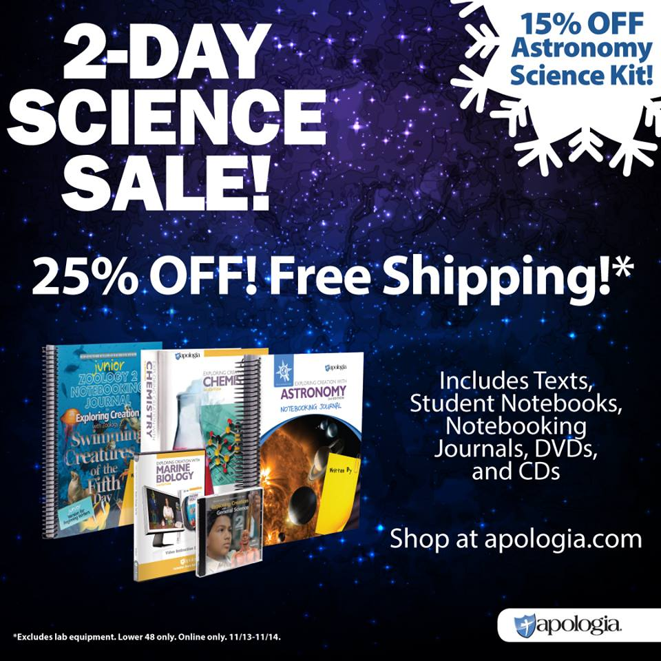 25% Off Apologia Science Resources - Two Days Only!
