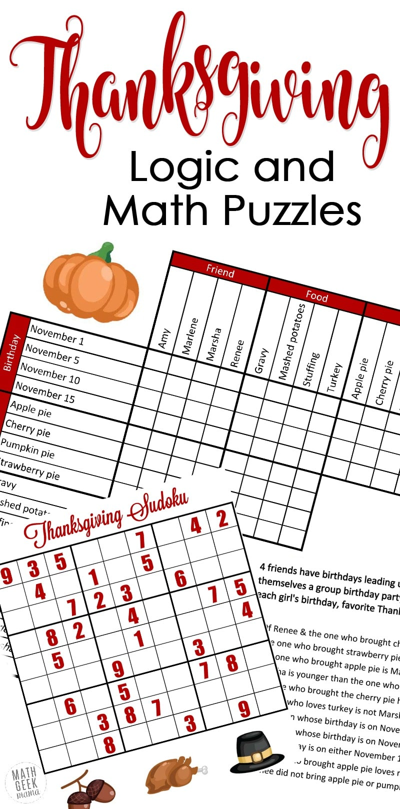 Free Thanksgiving Math & Logic Puzzles